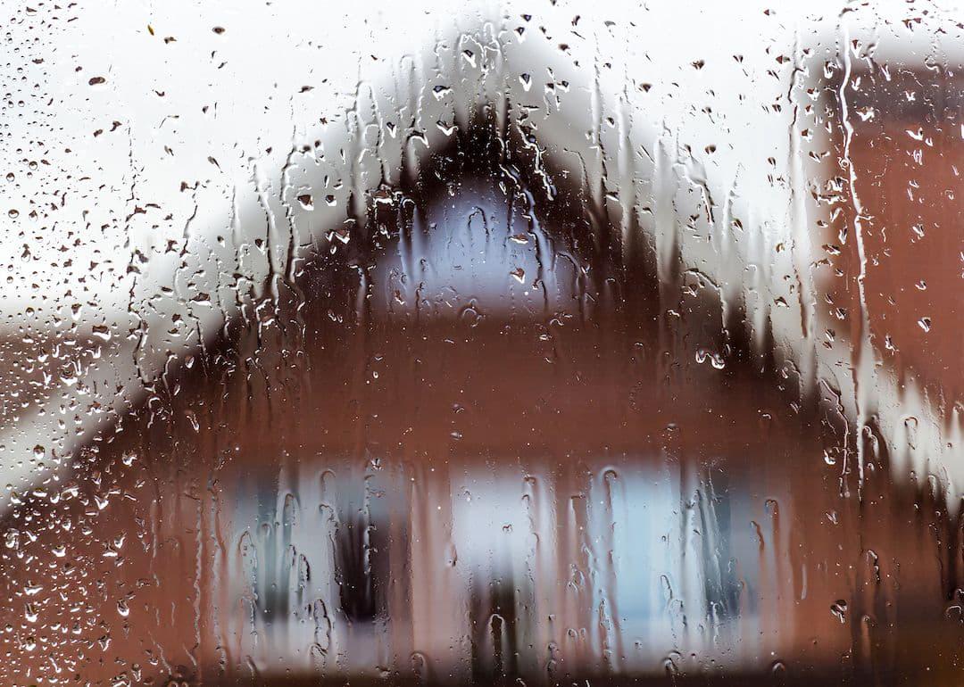 House in rain