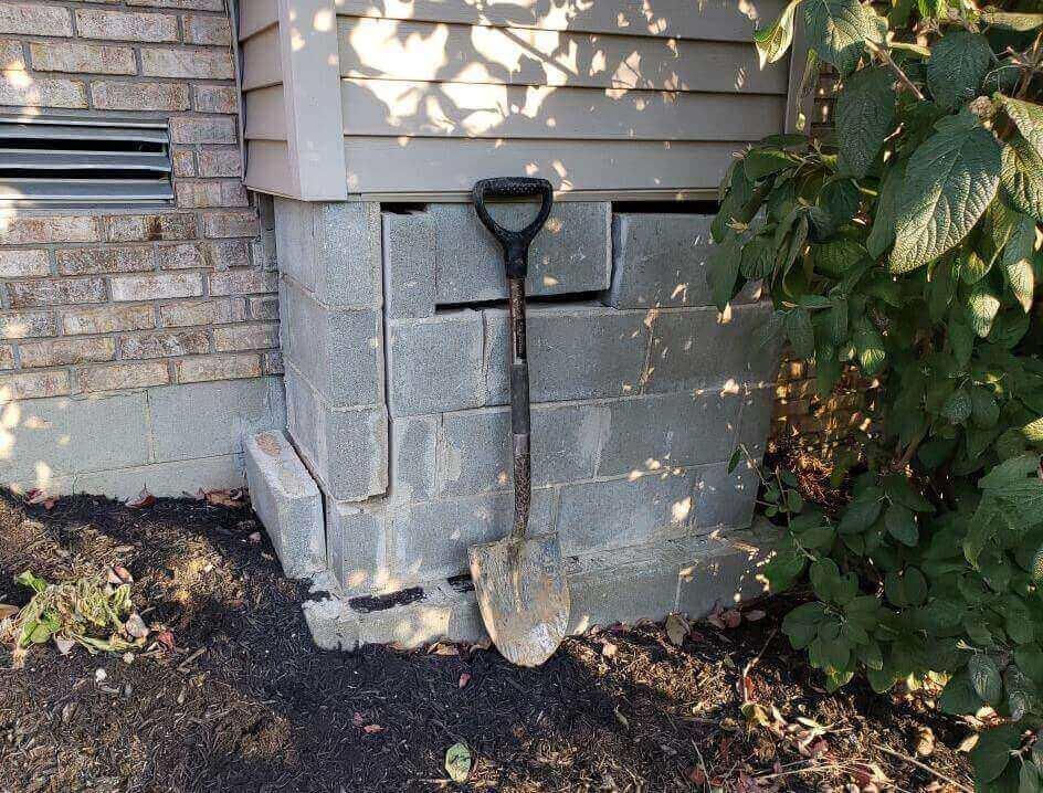 Blocks shifted around a chimney