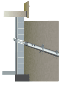 illustration of helical tieback attached to basement wall