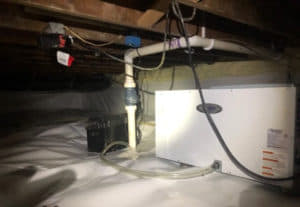 Crawl Space Encapsulation with dehumidifier and sump pump