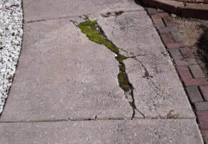 badly cracked walkway