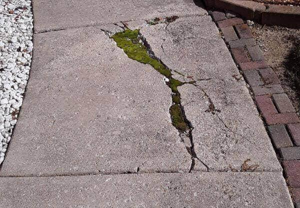 badly cracked walkway