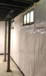 basement with encapsulated walls