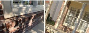 porch before and after pier repairs