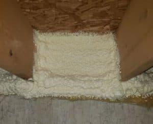 close up of spray foam