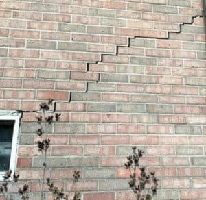 brick foundation with crack