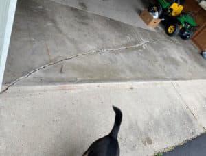 cracked uneven garage floor
