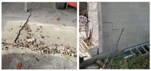 inside and outside views of a cracked garage foundation