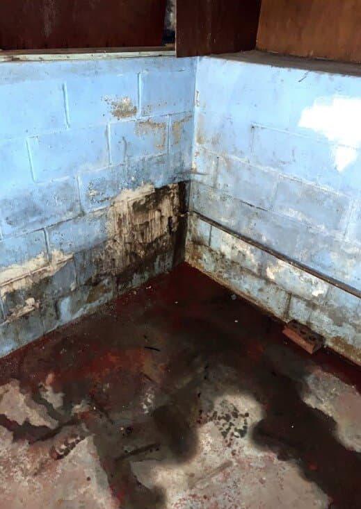 basement corner with standing water on floor
