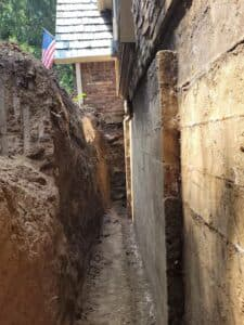 excavation outside wall